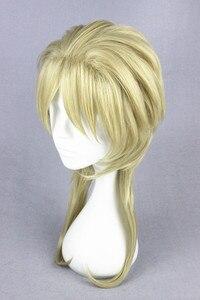 Image 3 - 45 Cm Blonde Medium Kapsel Jojo S Bizarre Adventure Dio Brando Cosplay Pruik Hittebestendige Synthetische Haar Pruiken + Pruik cap