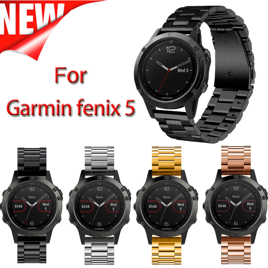 22mm Width Classic Stainless Steel Metal Strap for Garmin Fenix 5 Band Three links Metal Band for Garmin watch band 22mm width nylon strap for garmin fenix 5 band outdoor sport watchband with quick fit for garmin fenix 5 replace wrist band