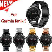 22mm Width Stainless Steel Strap for Garmin Fenix 5 Plus Band 3 links Classic Metal Band for Garmin Fenix 5 watch band