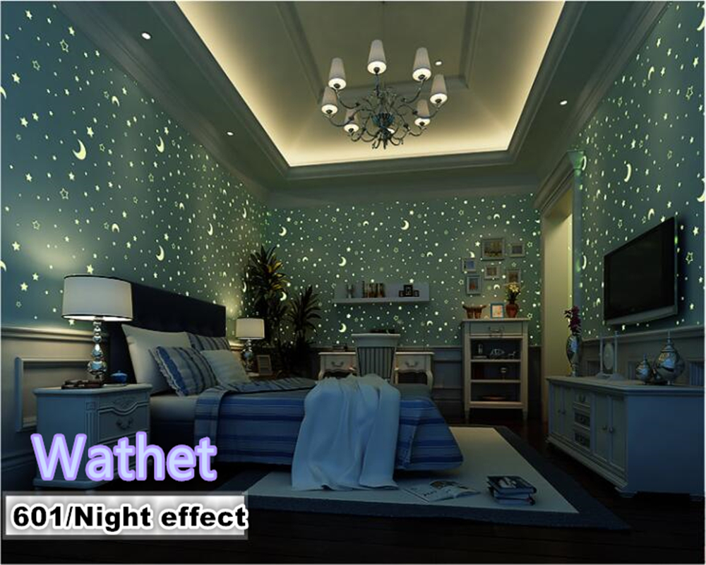 beibehang Non-woven wallpaper moon star children room fluorescent luminous walls paper  papel de parede papier peint non woven luminous wallpaper roll stars and the moon boys and girls children s room bedroom ceiling fluorescent home wallpaper