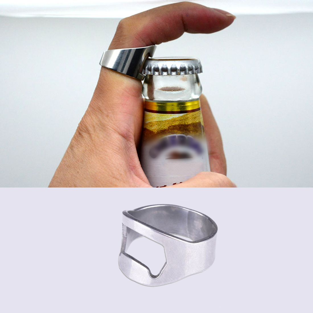 1pc Men Unique Creative Versatile Stainless Steel Finger Ring Beer Bottle Opener Kichen Tool