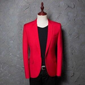 Image 2 - PYJTRL marka erkek rahat kırmızı takım elbise ceket düğün slim fit uzun kollu erkek gömlek Blazer şarkıcılar için sahne kostümleri kostüm Homme
