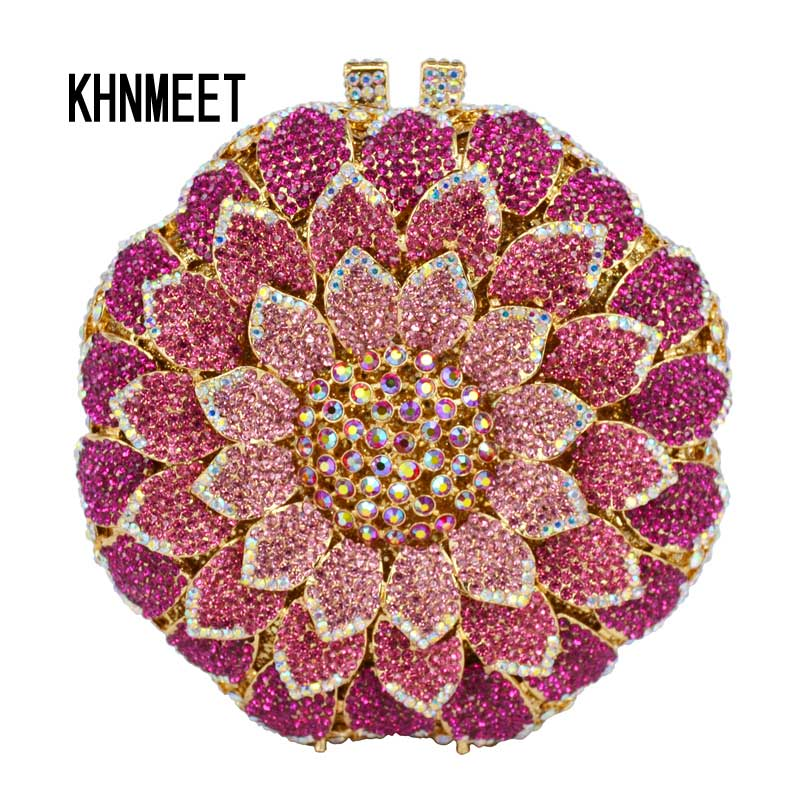 LaiSC Pink Circular Flower shape Evening Bag with Metal Diamond Ladies Evening Clutch Bag Party Crystal