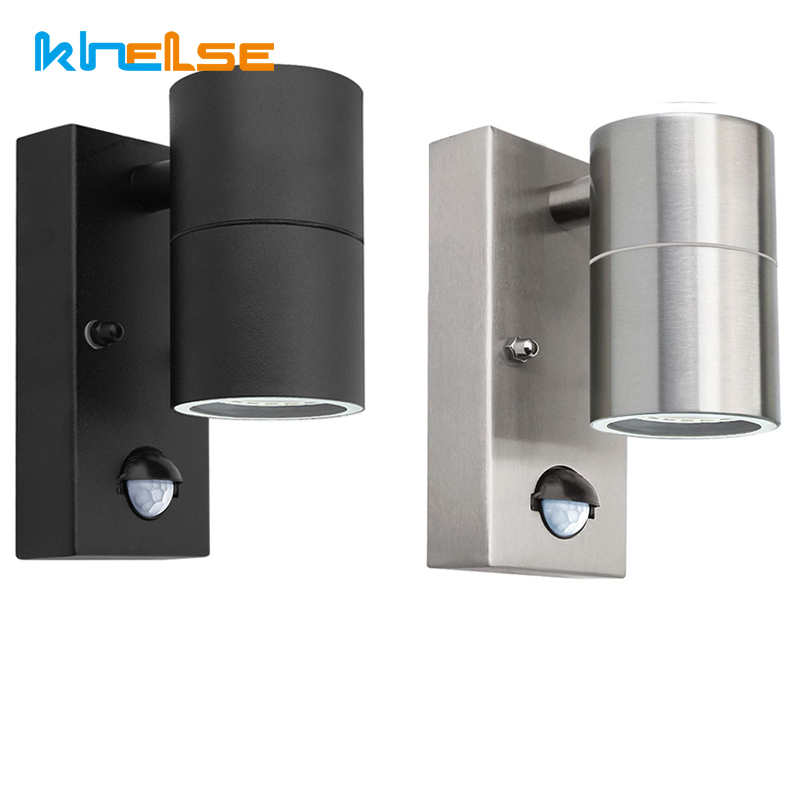 Sensor Wall Light Down Black Pir