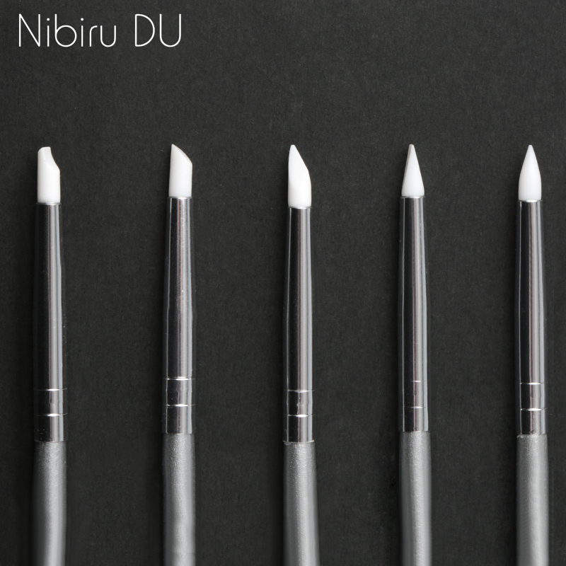 5 Pcs Silicone Nail Brush Carving Emboss Hollow Pottery Sculpture UV Gel Shaping Silicone Brushes For Modeling Nail Art DIY Tool
