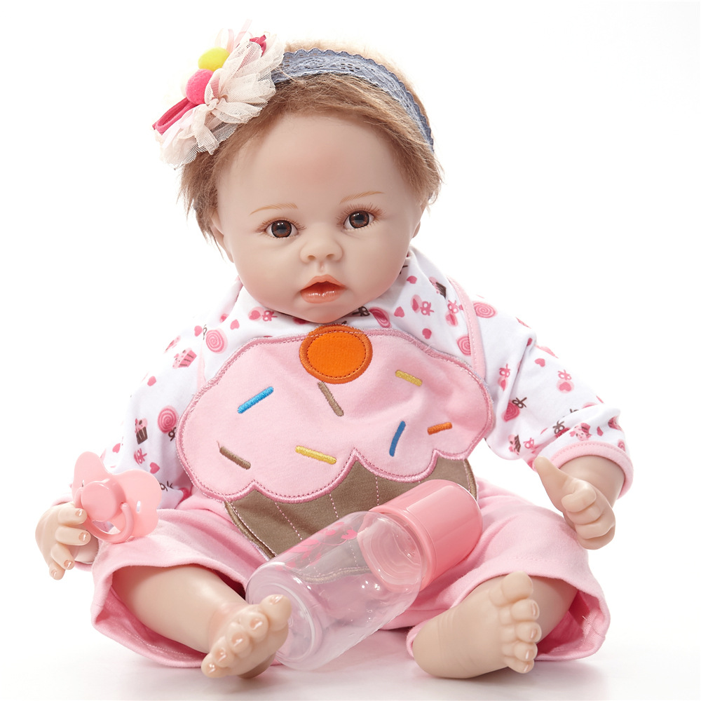 22 inches Lovely Reborn Girl Doll Soft Silicone Cute Princess Newborn Baby with Cloth Body Toy for Kids Birthday Christmas Gift 22 inches realistic reborn girl doll soft silicone cute newborn baby with cloth body toy for kids birthday christmas gift