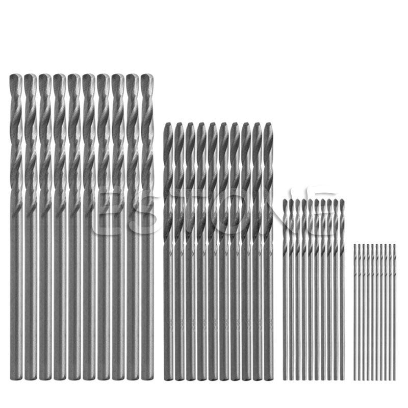 OOTDTY 40Pcs Mini Drill HSS Bit 0.5mm-2.0mm Straight Shank PCB Twist Drill Bits Set 13pcs lot hss high speed steel drill bit set 1 4 hex shank 1 5 6 5mm free shipping hss twist drill bits set for power tools