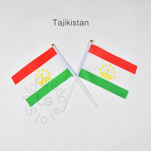 Tajikistan 14*21cm flag Banner Free shipping hand waving National flag Home Decoration flag banner meet Parade party(China)