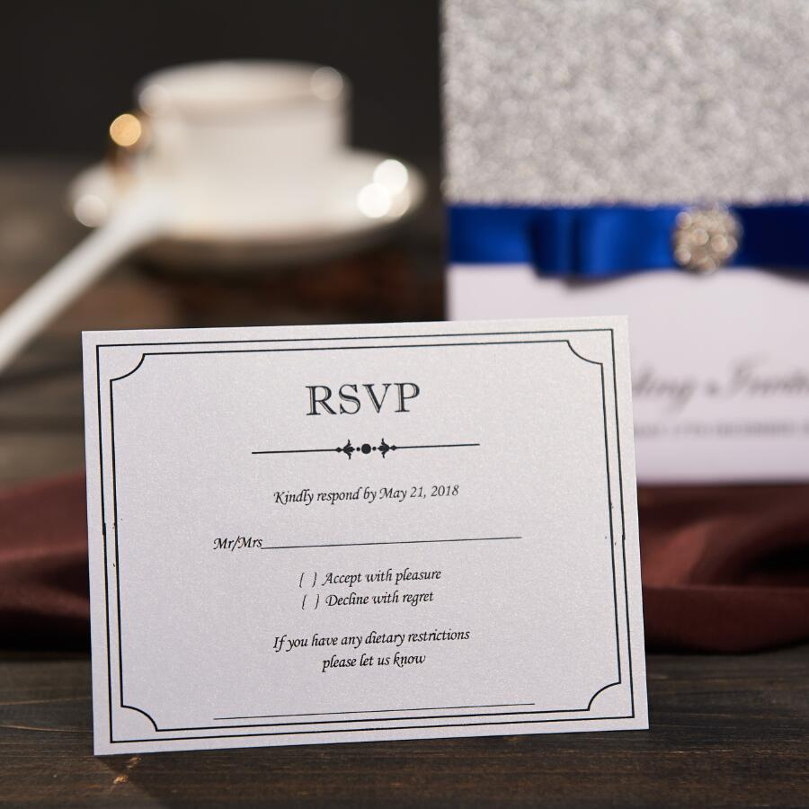 Traditional pocket wedding invitations with rsvp card custom blue traditional pocket wedding invitations with rsvp card custom blue ribbon birthday marriage engagement baby shower party nk741 in cards invitations from bookmarktalkfo Image collections