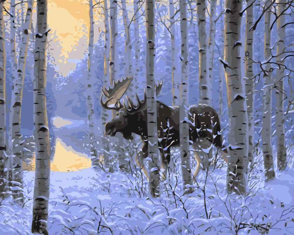 MaHuaf-j456 Winter Moose in forestDIY Painting Kit Paint By Numbers Kit DIY Oil Painting On Canvas Gifts Wall Art