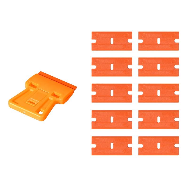 EHDIS Window Cleaning Squeegee Razor Scraper+10pcs Plastic Blade Car Tinting Tools Car Sticker Film Glue Remover Vinyl Wrap Tool