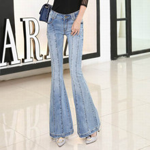 91029fdc8e025 New 2018 Skinny Jeans Women Denim Pants Spliced Full Length Flare Pants  Summer Casual Slim Trousers Blue Stretch Ripped Jeans