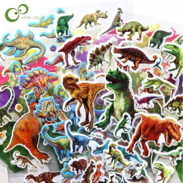 10 hojas/lote pegatinas de burbujas 3D Jurassic dinosaurios juguetes clásicos álbum de recortes fresa para niños regalo pegatina de recompensa GYH