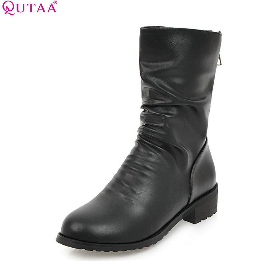 QUTAA 2018 New Fashion Women Mid Calf Boots Round Toe Square Heel Zipper Westrn Style Short Plush Women Boots Size  34-43 high quality full grain leather round toe mid calf boots size 40 41 42 43 44 buckle decoration zipper design square heel boots