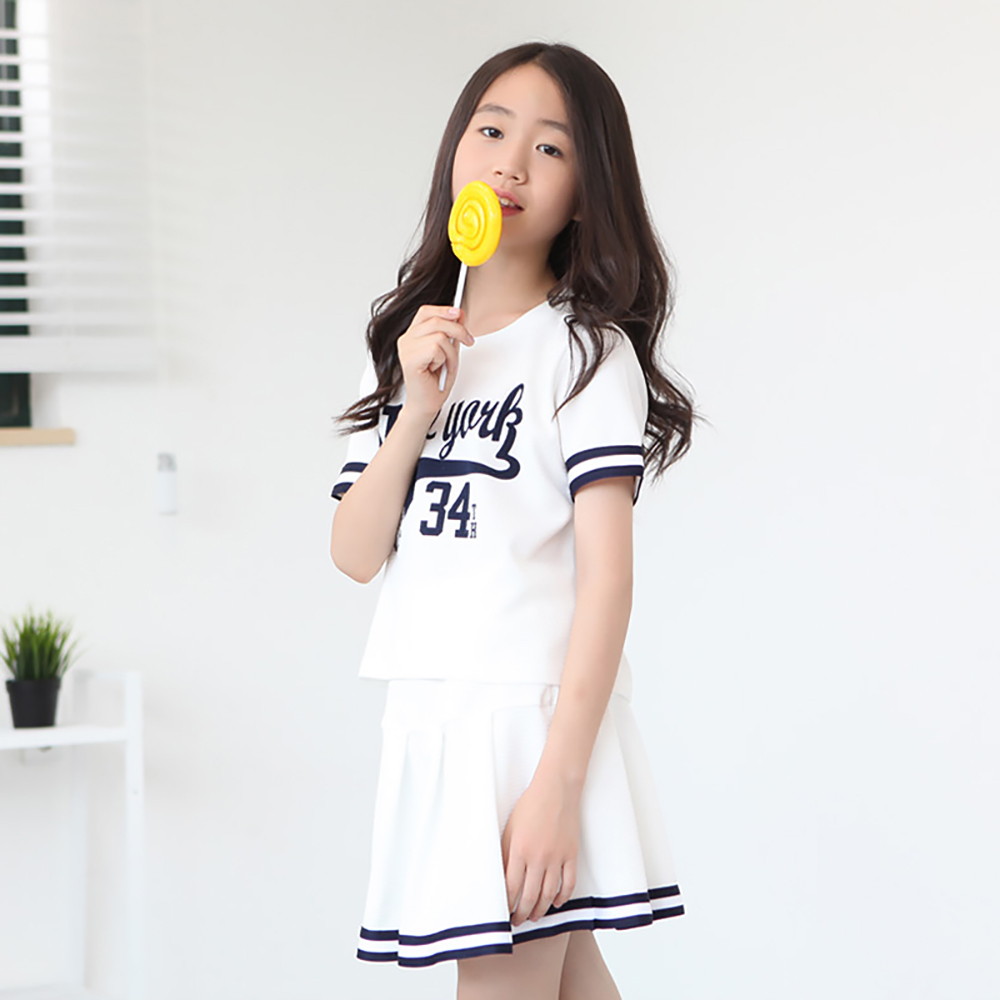 B21 New Fashion 3-16T Kids Baby Girls Clothes Set Summer Children Short Sleeve T-shirt Tops+Skirt 2pcs Kids Outfit Suit