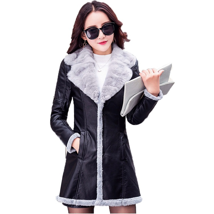Pu D'hiver 2018 Femelle Noir Manteau Pièce Tombent De Cuir En Peluche Seule Femmes D'une Womam Fourrure Veste Faux Dames Mode 1X1Tq