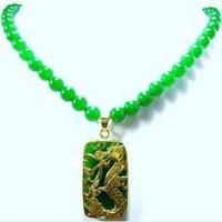 Afrika boncuk takı Güzel Tibet yeşil gem kolye drogon kolye Halskette doğal lady kadın toptan