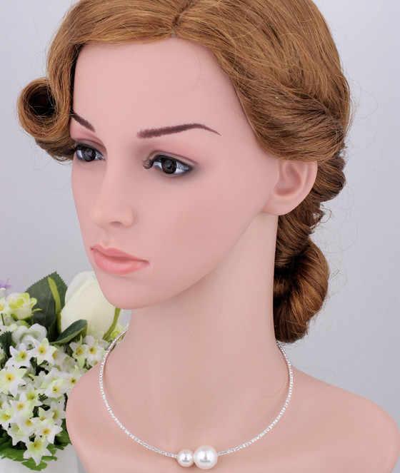 אופנה סימולציה פרל כלה תכשיטי סטים לנשים מתכוונן קולר עגיל שרשרת צמיד קריסטל תכשיטי חתונה מתנה