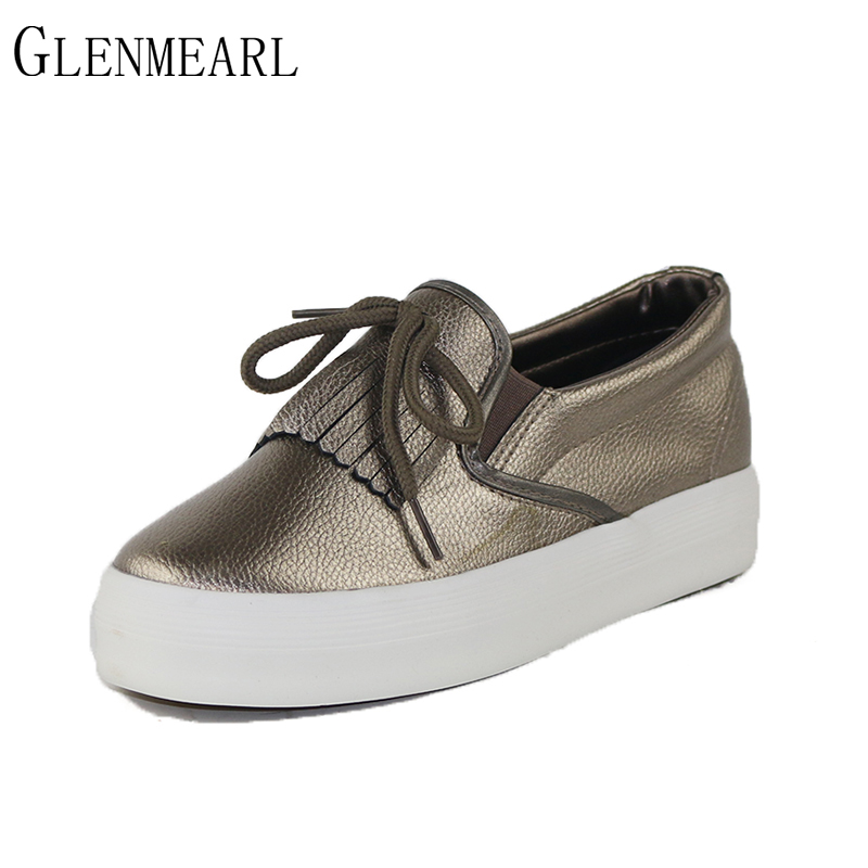 2019 Dames Flats Instappers Schoenen Kwastje Dik Met Platform Hoogte Toenamen Plus Size Merk Single Casual Female Lazy Shoes 35