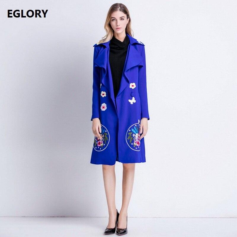 Haute qualité nouveau 2018 automne longs manteaux Trench femmes col rabattu broderie florale ceinturée bleu noir pardessus femme manteau