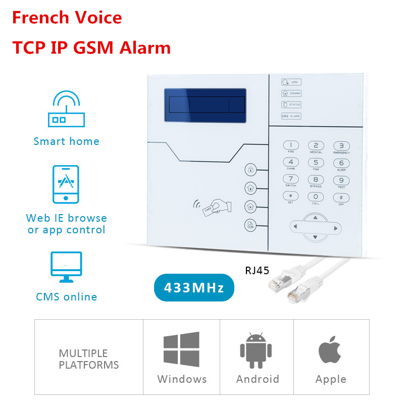 Free Shipping RFID Tags Support TCP IP Alarm SMS GSM Alarm Smart Home Alarm System with WebIE and App Control most advanced webie control wireless home smart alarm tcp ip burglar gsm alarm system security home alarm system