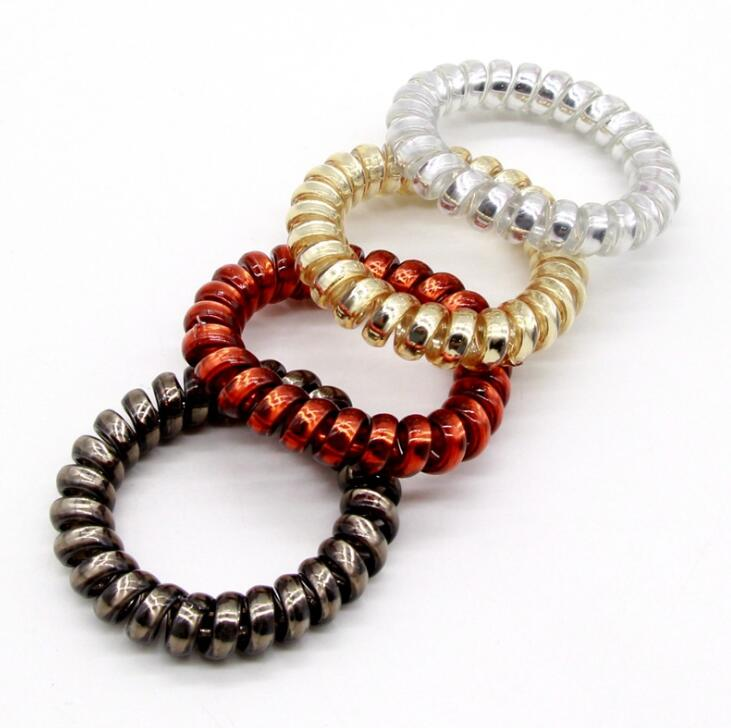 4 PCS Telephone Line Cord Traceless Rubber Bands Gold Silver Brown Color Gum Elastic Hair Band For Girls Women Hair Accessories