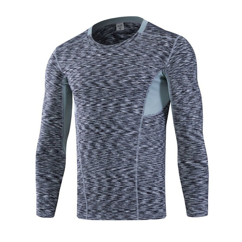 2017 Mens Long Sleeved Sports Fitness Tight Wicking Running T-shirt Elastic Compression Garment
