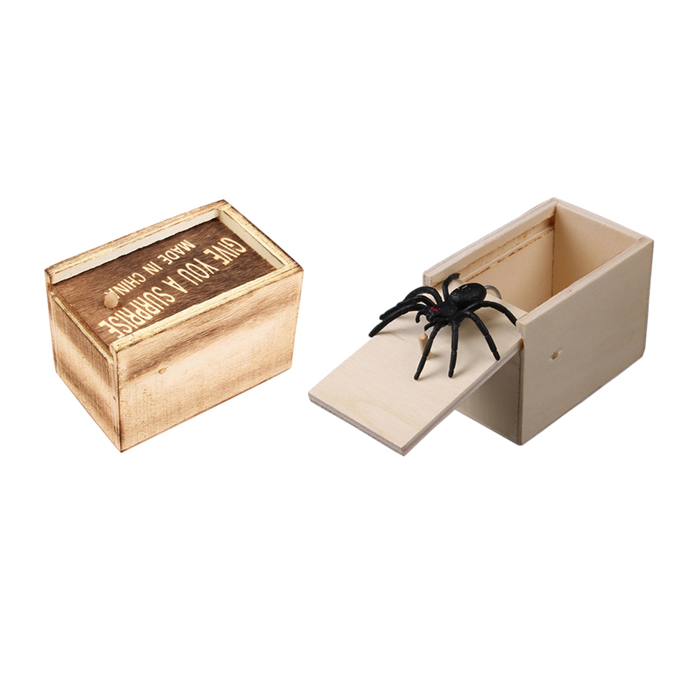 Mouse Spider Surprise Box Joke Fun Scare Prank Gag Gifts Kids Adult Toys Tricky Toy Scared Wooden Box Spoof Scary Little Bug New