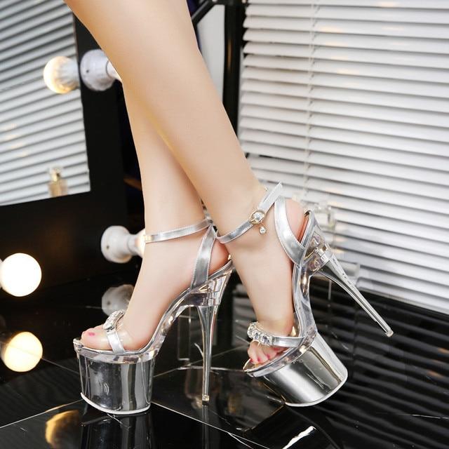 f2275976d Для женщин женские пикантные серебристые со стразами свадебные туфли на  прозрачной платформе 18 см extrem Обувь