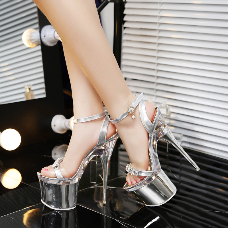 Women female sexy silver rhinestone wedding bridal transparent crystal platform 18 cm extrem high heels sandals ladies pumps 1 цена 2016