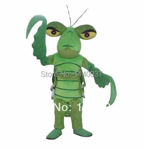 NO.1 MASCOT Professional Brave Green Mantis Mascot Costume Adult Size Mantis Insect Cosply Costume Cartoon Fancy Dress FREE SHIP