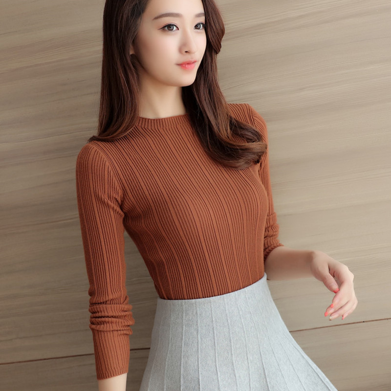 2019 New High Quality Autumn Winter Women Sweater Pullovers Knitwear Solid Half Turtleneck Long Sleeve Sexy Slim Chandail Femme