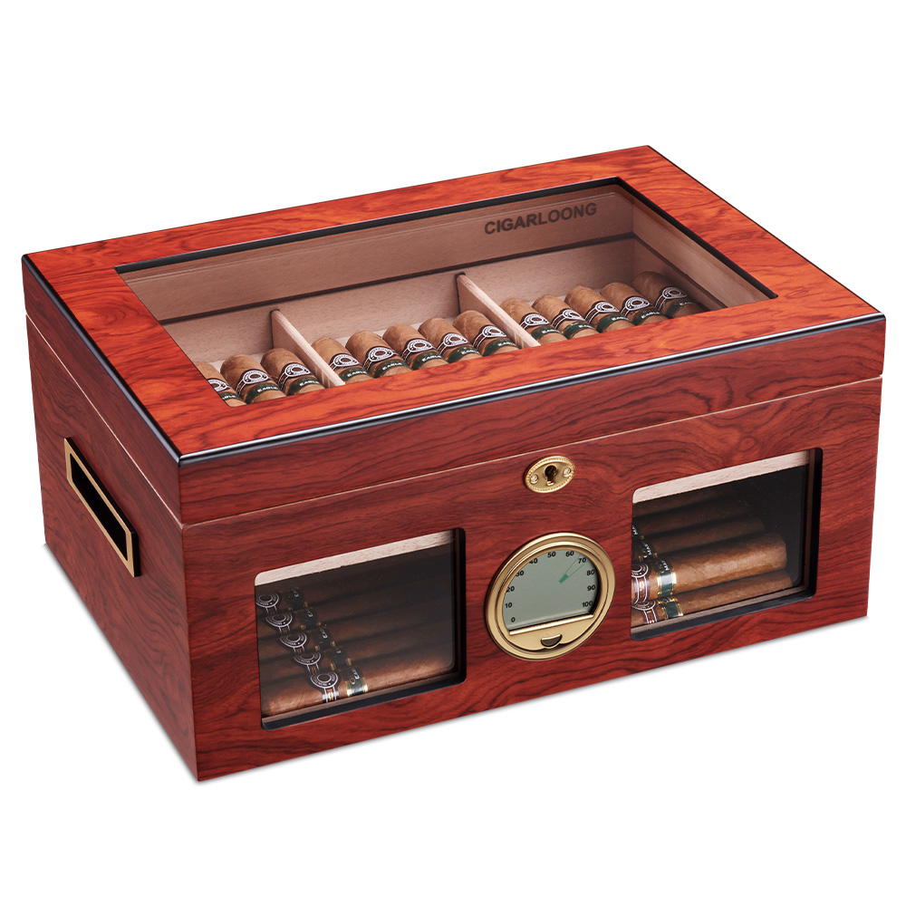 CIGARLOONG Cigar Cedar Wood Moisturizing Box Humidor Cabinet Large Capacity Fit 100 Double Layer Cigar Humidor