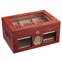 Cigarloong Sigaar Cederhout Hydraterende Doos Humidor Kast Grote Capaciteit Fit 100 Dubbele Laag Sigaar Humidor Houten Doos