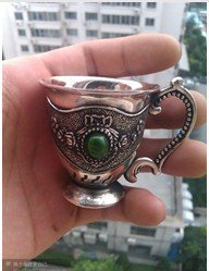 2pcs Fine Design style antique Carvings Tibetan Silver Totem Wine Cup green jade 2.2 old  Decoration real Tibetan Silver Brass