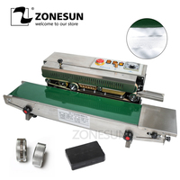 ZONESUN 770 Máquina de Selagem Película Contínua Auto Horizontal Saco Selador Filme de Membrana de PVC com Controle de Temperatura 2 Mark Rodas