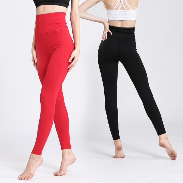 c35e2d8ba5 High Waist Elastic Women Yoga Pants Ladies Gym Fitness Clothing Running  Pants Sport Athletic Leggings Plus