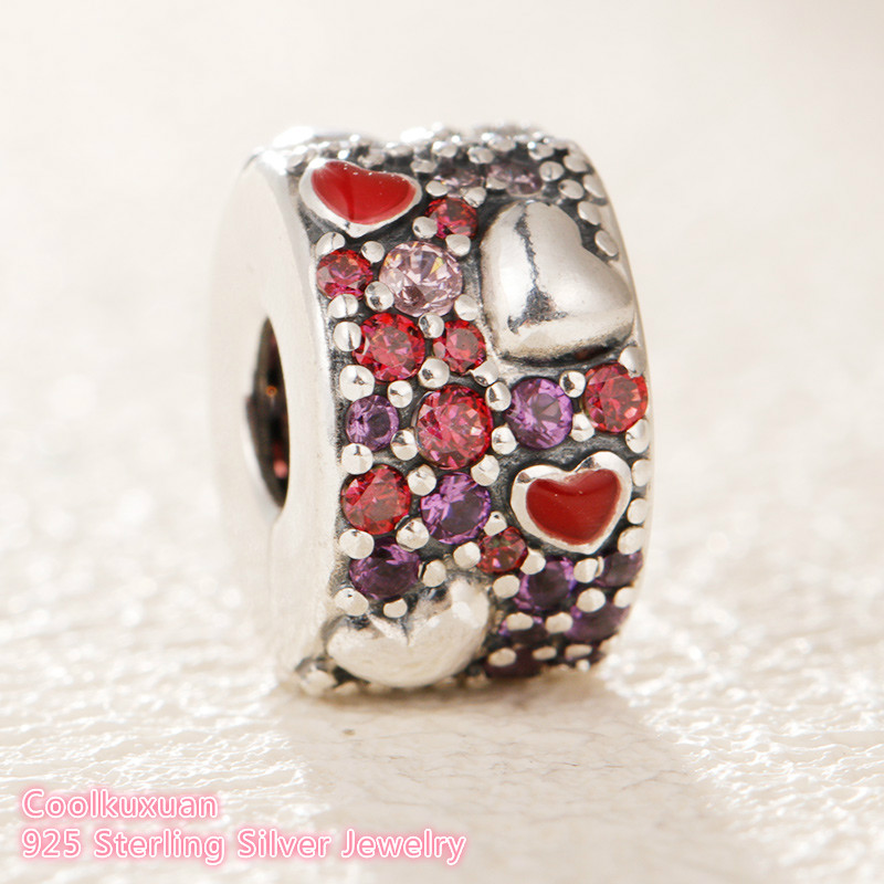 2019 Valentine's Day 925 Sterling Silver Asymmetric Hearts of Love Charm, Red &Pink CZ,clip beads Fit Pandora Charms Bracelet