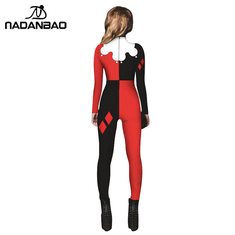b3953bb7a2d20 NADANBAO Suicide Squad Harry Quinn Impreso Cosplay Costume Bodysuit  Halloween Costumes Plus Size Jumpsuit on Aliexpress.com