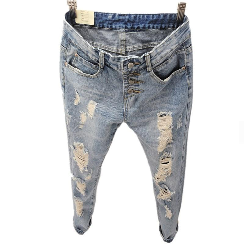 Boyfriend Jeans For Women  New Fashion Summer Style Women Jeans Loose Holes Denim Harem Pants Ripped Jeans Woman women jeans autumn new fashion high waisted boyfriend street style roll up bottom casual denim long pants sp2096