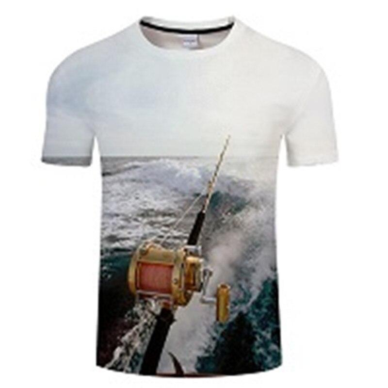 Новая футболка для рыбалки, стильная повседневная футболка с цифровым 3D принтом рыбы, мужская и женская футболка, летняя футболка с коротким рукавом и круглым вырезом, Топы И Футболки S-6XL - Цвет: TXKH439