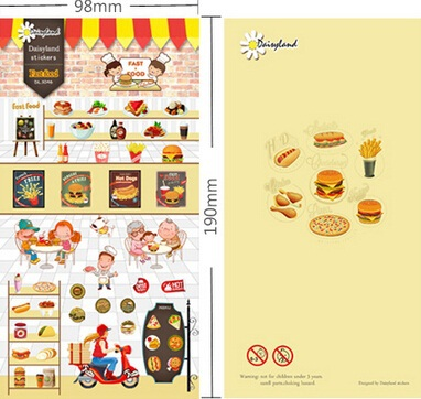 1pcs/lot  Cute Cartoon Fast Food series sticker DIY Multifunction decoration sticker phone sticker DL.1046