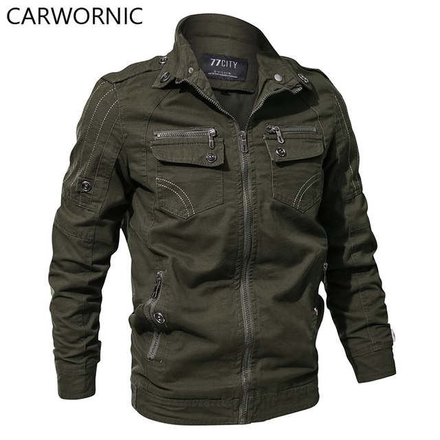 CARWORNIC Military Army Jacket Men Casual Autumn Cotton Bomber Jackets Coat Spring Air Force Pilot Cargo Tactical Jacket 6XL
