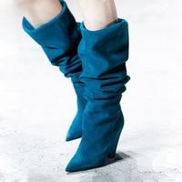 Пикантные однотонные кожаные сапоги до колена на шпильках, женские сапоги с острым носком без шнуровки, свободные сапоги со складками, Улич