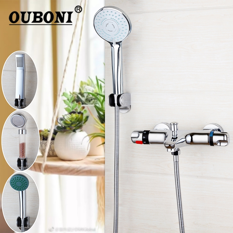 OUBONI Wall Mounted Thermostatic Mixer Taps Basin Faucet Set Exposed Shower Faucet Chrome Brass Bathtub Sink & Shower Hand yanksmart wall mounted thermostatic faucet double handles faucet spout filler diverter chrome bathtub shower faucet valve mixer