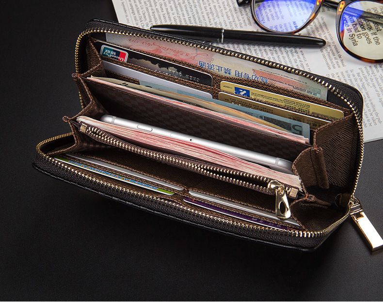 2016 newest mens Square grid plaid long section with strap purses wallets clutches free shipping 6055-1