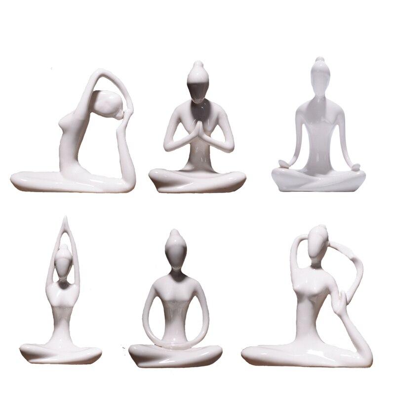 Ceramic Yoga Poses Figurine Creative Abstract Art Porcelain Meditation Lady Figure Statue Home Decoration Modern Simple Ornament