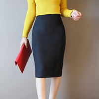 2017 Autumn Women S Leather Suede Pencil Skirt Ladies Fashion Slim High Elastic Hip Midi Winter