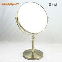 SpringQuan 8 pollice di trucco del metallo specchio color Bronzo rotondo double side Cosmetic mirror 3 x zoom Desktop uso camera da letto