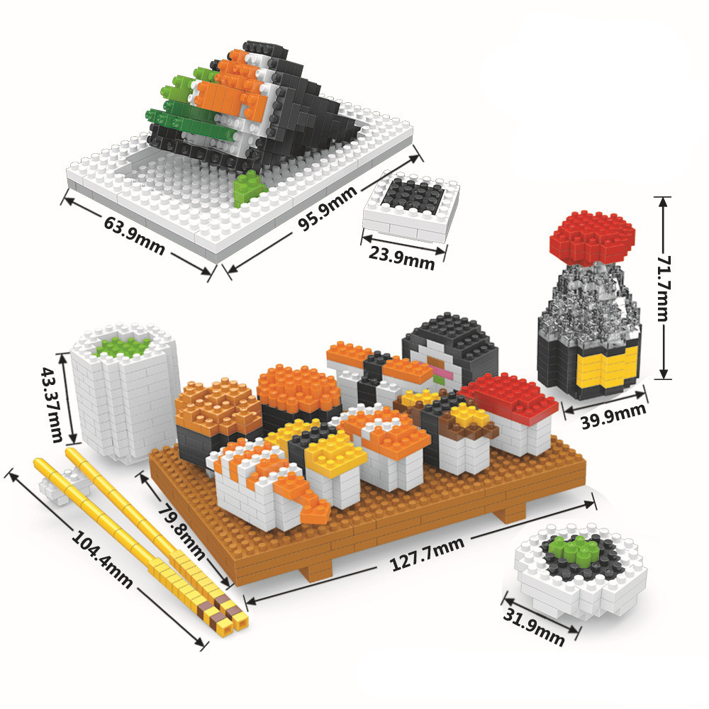 AIBOULLY nano blocks delicious sushi food action figures plastic Building Bricks ABS mini hot model educational toys for kid. wisehawk hot plastic nano blocks kawaii anime cartoon one piece luffy action figures building bricks diy models educational toys